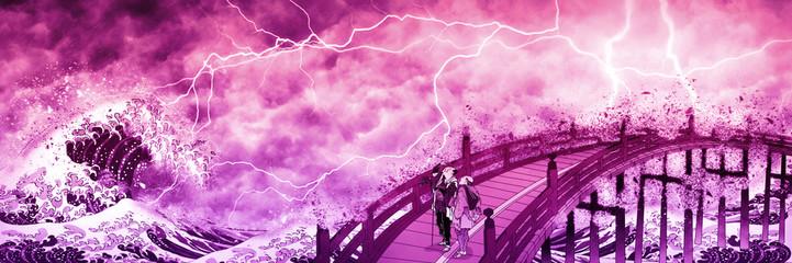 神奈川沖浪裏&見物客 赤い嵐ロングバージョン