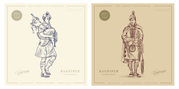 Bagpiper with bagpipes vintage hand drawn illustration