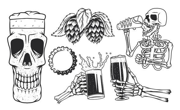 Isolated illustrations set of skeleton hands with beer mugs, skeleton drinking beer, skull beer mug, cup and hop.