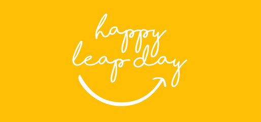 Happy Leap day or leap year slogan. Calendar page month 29 February,  2020 and 366 days. 29th Day of february, today one extra day. line pattern banner Fun vector icon sign