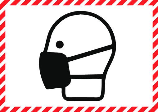 Ladenschild Corona Schutzmaske und Abstand