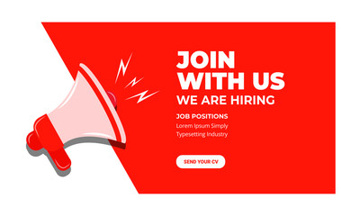join with us, we are hiring banner, vector