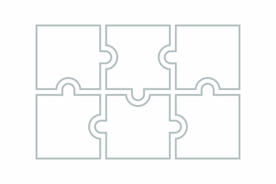 Six blank puzzle pieces. Puzzle for web, information or presentation design, infographics. White puzzle on white background. Vector illustration