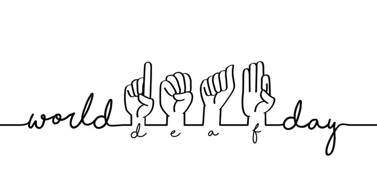 Hand spelling Deaf sign language signs Slogan world deaf day line patern background Fingerspelling alphabet Vector school teacher hand icon symbol Banner, wallpaper, card celebration Funny happy hands
