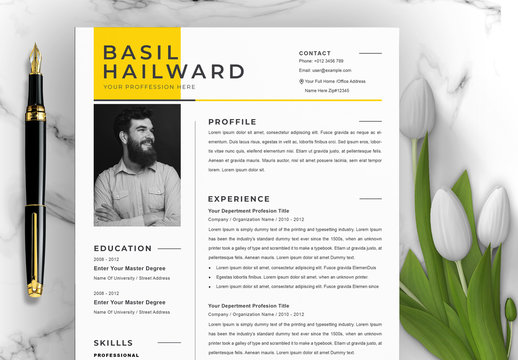 Professional Resume CV Layout with Photo Placeholder