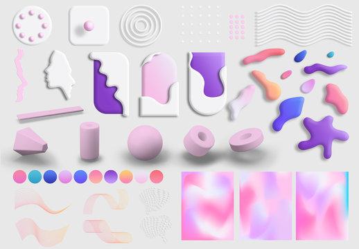 Kit artistico 3D leggero e surreale