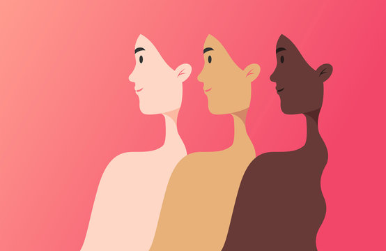 Illustration of three women silhouette of different nationalities, cultures, and skin color equal and strong together - unity concept - vector illustration banner in flat style, beautiful background