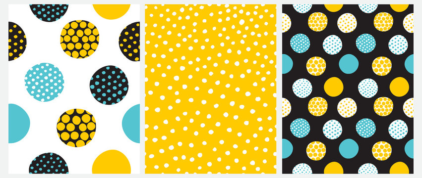 Simple Irregular Dots Seamless Vector Patterns. Yellow, Blue and Black Dots on a White, Yellow and Black Background. Infantile Style Abstract Dotted Print.