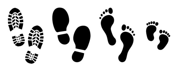 Human bare walk footprints shoes and shoe sole Kids feet and foot steps Fun vector baby footsteps icon or sign for print Kid step for trail Walking footstep and footprint for trekking or follow route