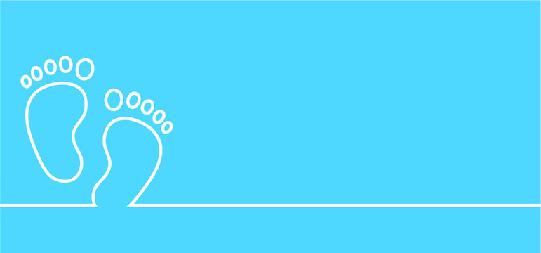 It is a boy. New born, pregnant or coming soon footprints shoes and shoe sole slogan. Kids or baby feet and foot steps Fun vector footsteps icon for print. Quote Love heart blue boy or pink girl sign.