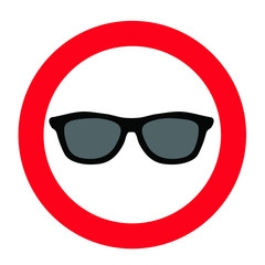 No glasses, cap do not wear cap remove before enter sign. Ban or Stop, sunglasses, headdress, hat prohibition signs. No Aviator. Pilot glasses. Flat vector  icons