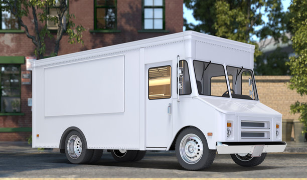 White Realistic Food Truck With Closed Window. Modern Cityscape. Takeaway Food And Drinks. Mock Up. Copy Space, Empty Space. 3d rendering.