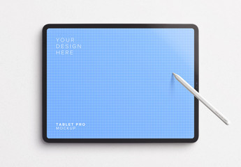 Tablet Pro Mockup with Tilted Pencil