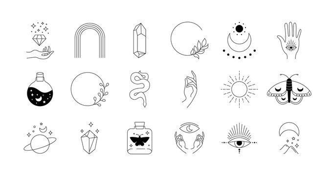 Boho doodle mystic set. Magic simple hand drawn logo icons with snake crystal eye sun moon. Abstract vector illustration