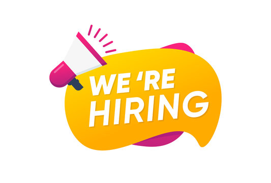 We are hiring with Megaphone flat vector