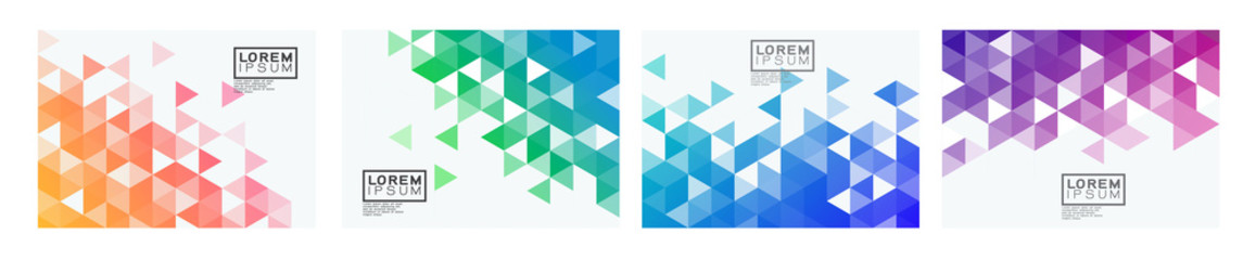Set of colorful gradient triangle pattern on corner position with white space. Modern geometric background for business or corporate presentation. vector illustration
