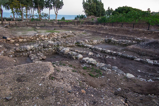 Excavations of the 1st century synagogue in Magdala, Galilee, Israel.