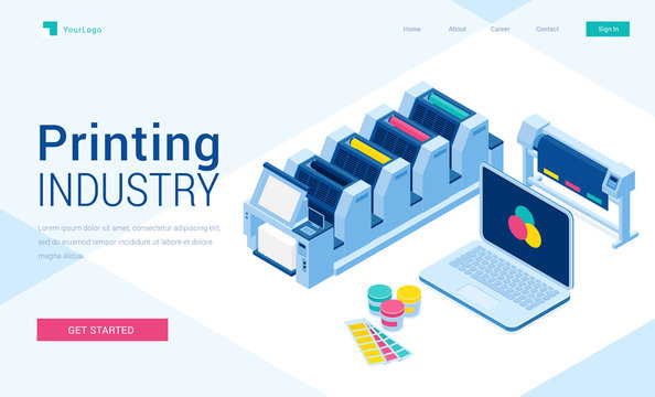 Printing house polygraphy industry isometric landing page, offset or laser industrial printers, laptop with rgb colors on screen, press business equipment and consumables in office3d vector web banner