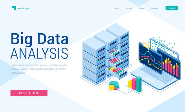 Big data analysis isometric landing page. Information research system, laptop with graphics charts on screen, server room with drawers and files, business analytics, 3d vector illustration, web banner
