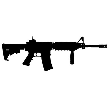 USA United States Army, United States Armed Forces, United States Marine Corps - Police fully automatic machine gun Colt M4 / M16 rifle, officially designated Rifle M4A1 SOCOM Carbine Caliber 5.56 mm