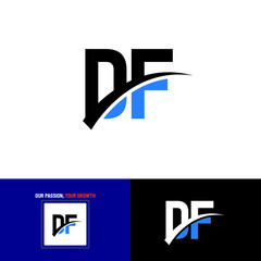 initial letter df, DF Logo Design For Vector