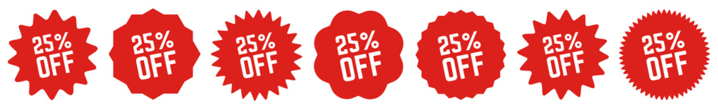 25 Percent OFF Discount Tag Red | Special Offer Icon | Sale Sticker | Deal Label | Variations