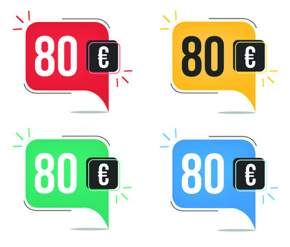 €80 euro price. Yellow, red, blue and green currency tags. Balloon concept with eighty euros sales tag.