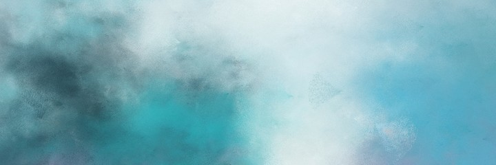 beautiful abstract painting background graphic with cadet blue and medium aqua marine colors and space for text or image. can be used as horizontal background texture