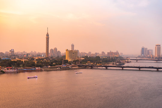 Egypt, Cairo, Nile with the Cairo Tower on Gezira Island at sunset