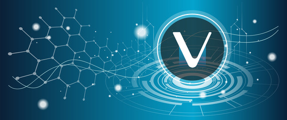 Vechain VET coin symbol with crypto currency themed background design. Modern neon color banner for VET or vechain icon. Blockchain technology, digital innovation & trade exchange concept.