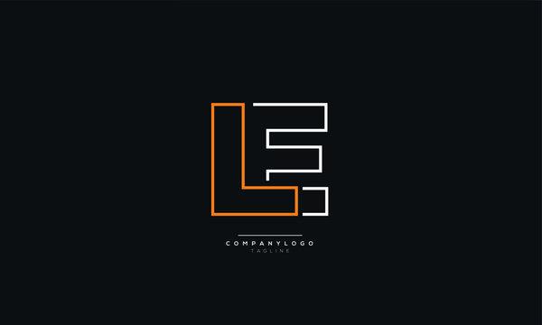 LE Letter Business Logo Design Alphabet Icon Vector Symbol