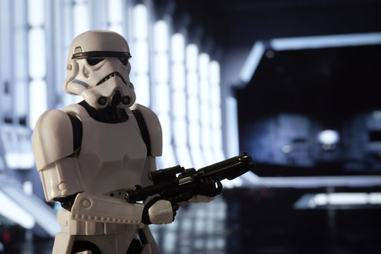 NEW YORK USA, APRIL 20 2020: Imperial Stormtrooper stands guard inside the docking bay of a star destroyer - Hasbro action figure