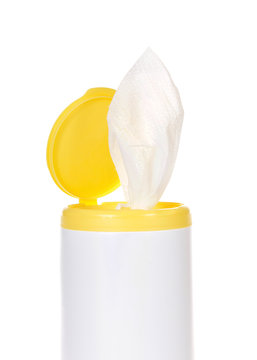 Close up on top of a pop up disinfecting wipes container, isolated on white. Vertical presentation.