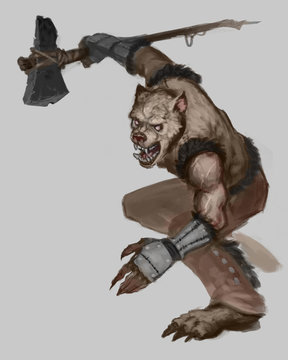 Digital painting of a native american werewolf creature posing for battle with his ax isolated on white background - digital fantasy illustration
