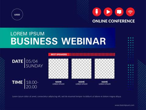Live webinar invite template. Banner live webinar promotion for social media.