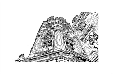 Building view with landmark of Antwerp is a city in Belgium and the capital of Antwerp province in the Flemish Region. Hand drawn sketch illustration in vector.
