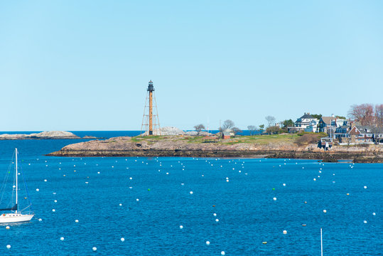 Marblehead Lighthouse, built in1835, is in Marblehead Neck in town of Marblehead, Massachusetts MA, USA.