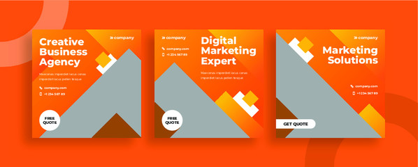 Set of editable templates for Instagram post, Facebook square, corporate, advertisement, and business, fresh design with orange colour, minimalist. (2/3)