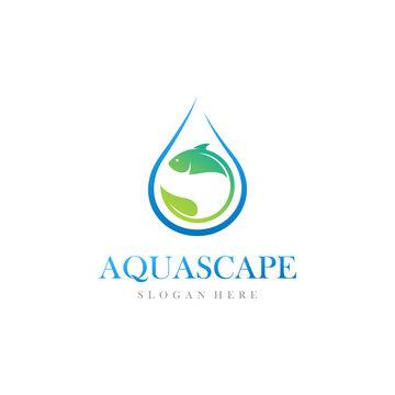 Aquascape, fish, water and leaf logo design vector illustration