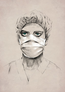 Drawing of young male medic with blue eyes wearing uniform and surgical mask