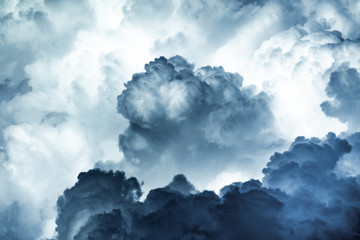 Spectacular abstract background of thunderstorm sky with dark ominous clouds