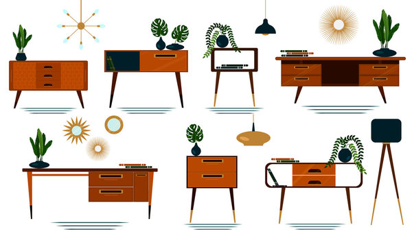 Set of midcentury modern furniture with plants, lighting and decor