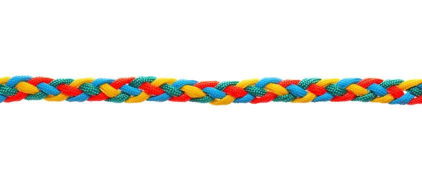 Braided rope on white background
