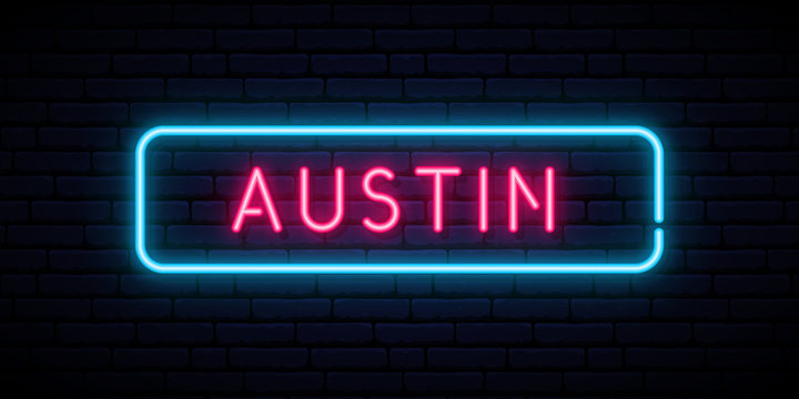 Austin neon sign. Bright light signboard. Vector banner.