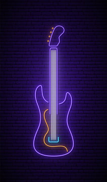 Neon guitar sign. Light neon signboard. Glowing rock guitar icon on dark brick wall background. Vector illustration.
