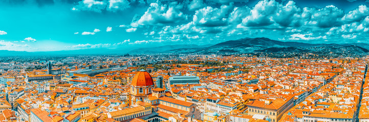 Beautiful landscape above urban and historical view of the Florence from Giotto's Belltower (Campanile di Giotto),city of the Renaissance stand on Arno river.Italy.