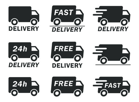 Fast 24h free shipping delivery truck icon shape. Web store logo symbol sign. Vector illustration image. Isolated on white background.