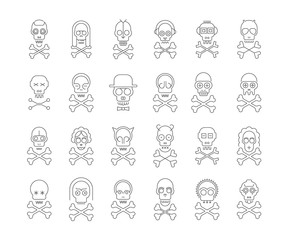 Thin grey line art silhouettes isolated on a white background Skull and Crossbones vector icon set. Large bundle of unique design elements, each icon is on a separate layer.