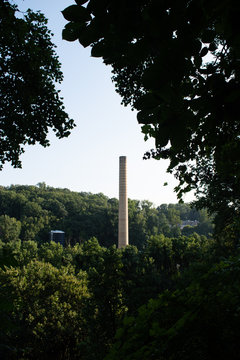 Historical Bancroft mills production industry factory smoke stack located in Wilmington Delaware at alapocas state park