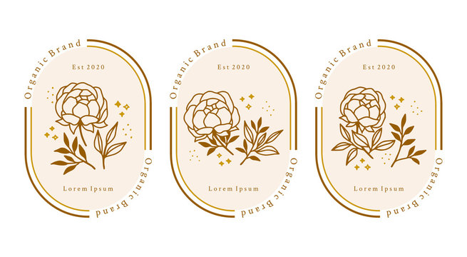 Hand drawn gold botanical peony flower element for feminine beauty logo or brand package